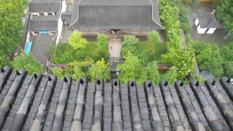View from the brick and wood North Temple Pagoda, the highest pagoda in Suzhou