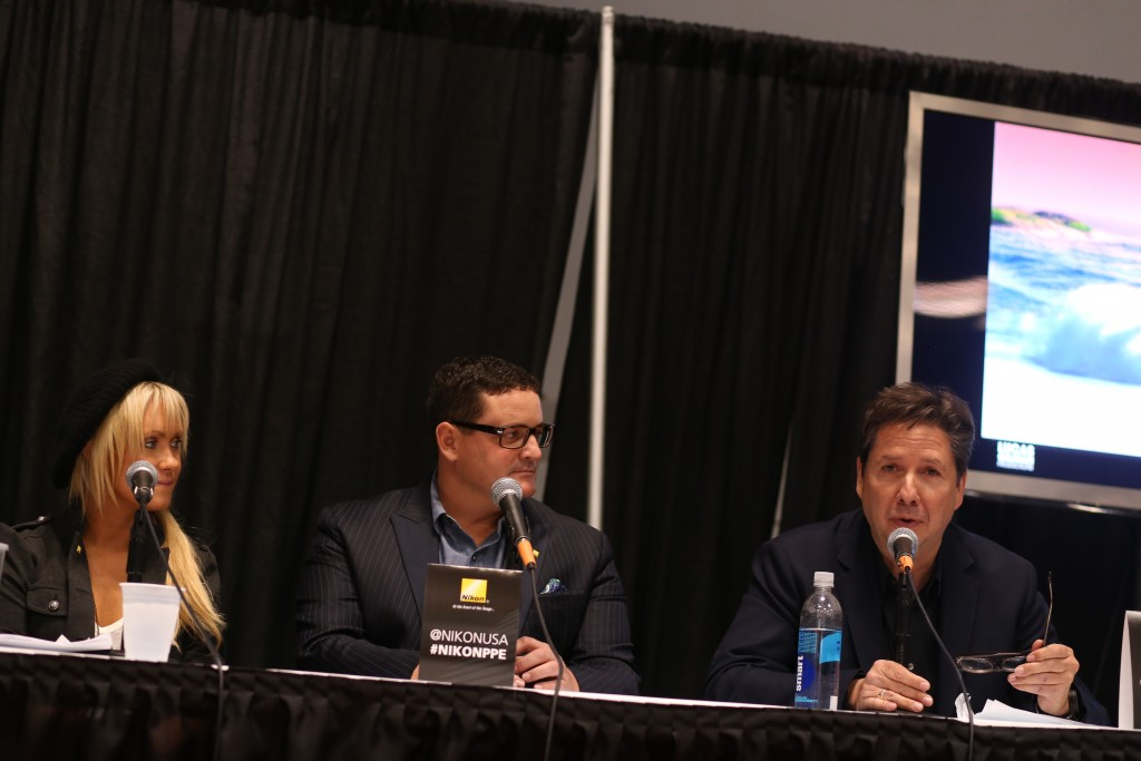 Nikon Ambassadors Dixie Dixon, Lucas Gilman and Steve Simon (left to right) at the 2014 PDNedu/Nikon panel at PhotoPlus Expo.