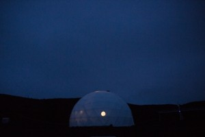 A dome where six researchers have been living for eight months in confinement is photographed in a crater on volcano Mauna Loa. The researchers are part of a NASA human performance study called HI-SEAS. Big Island, Hawaii.The purpose of the mission is to monitor the psychological response of human beings in condition of isolation in an unearthly environment, in perspective of the launch of scientific trips to Mars involving the presence of human beings of the planet.June 14, 2015 ©GAIA SQUARCI