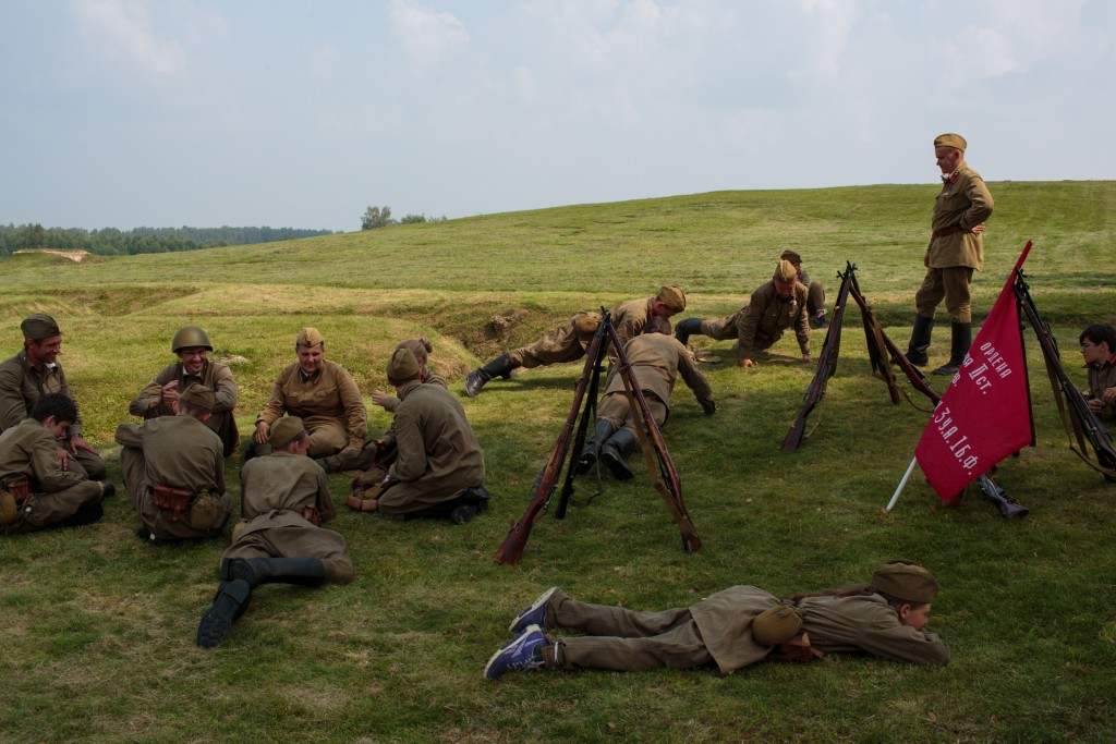 "A unit dresses to re-enact Soviet Russia during WWII as part of their historical education. Военно-Исторический Лагерь Бородино 2016, the Historical-War Camp, in Borodino, Russia. 26 July 2016. The camp offers reenactments of historical periods of war. Borodino is famous for a battle fought on 7 Sep 1812 - the deadliest day of the Napoleonic Wars. 350 adolescents are in attendance, ranging in ages from 11 to 17, and lasts throughout the summer. Students learn a variety of skills from tactical training in handguns, loading and unloading automatic guns, physical endurance, knife throwing, and others. The project statement of the camp says: ""To awaken in the younger generation a keen interest in the history of the Fatherland, the glorious deeds of our ancestors, to facilitate the expansion of military-historical knowledge."""